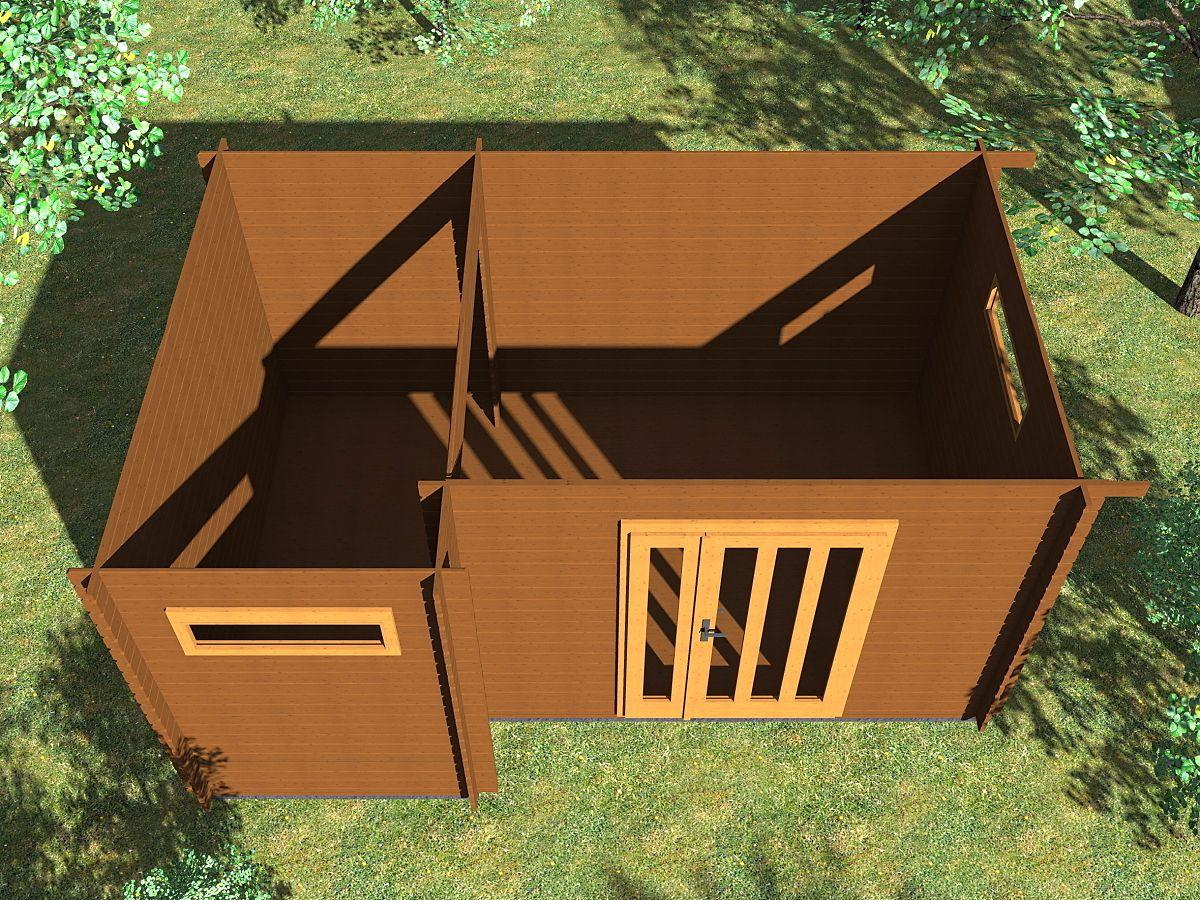 Ueli DD 450x300 s přístřeškem - vnitřní pohled - Vnitřní pohled do moderního domku Ueli.