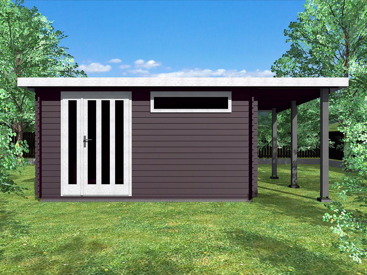 Zahradní domky ALFRED s ROVNOU STŘECHOU - Alfred DD 400x350 33 mm + přístřešek