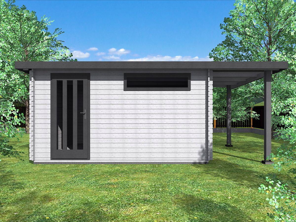 Zahradní domky ALFRED s ROVNOU STŘECHOU - Alfred 400x300 33 mm + přístřešek