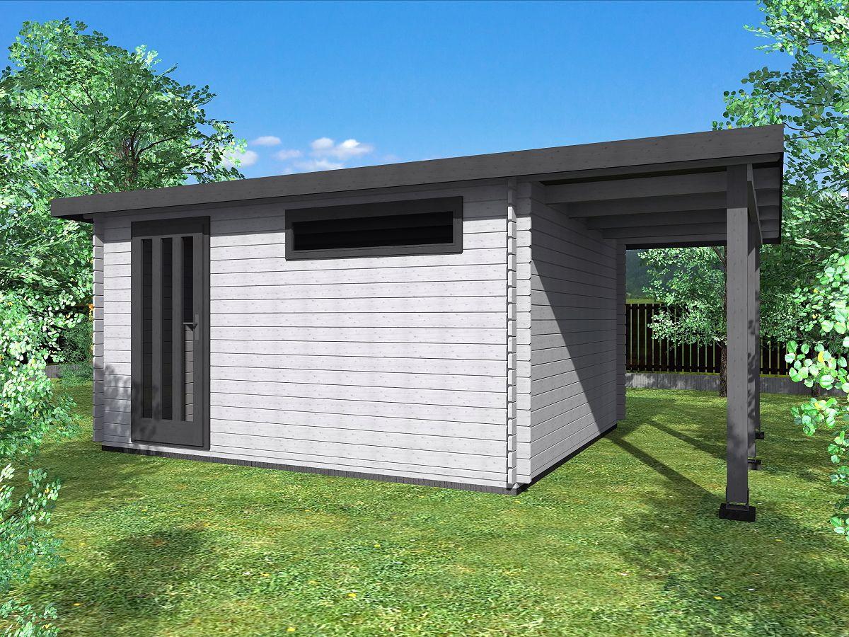 Zahradní domky ALFRED s ROVNOU STŘECHOU - Alfred 400x350 33 mm + přístřešek