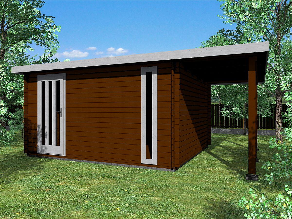 Zahradní domky EVALD s ROVNOU STŘECHOU - Evald 400x350 33 mm + přístřešek