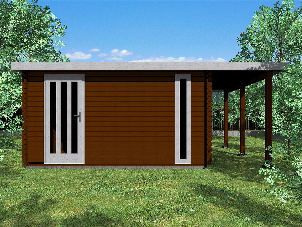 Zahradní domky EVALD s ROVNOU STŘECHOU - Evald 400x300 33 mm + přístřešek