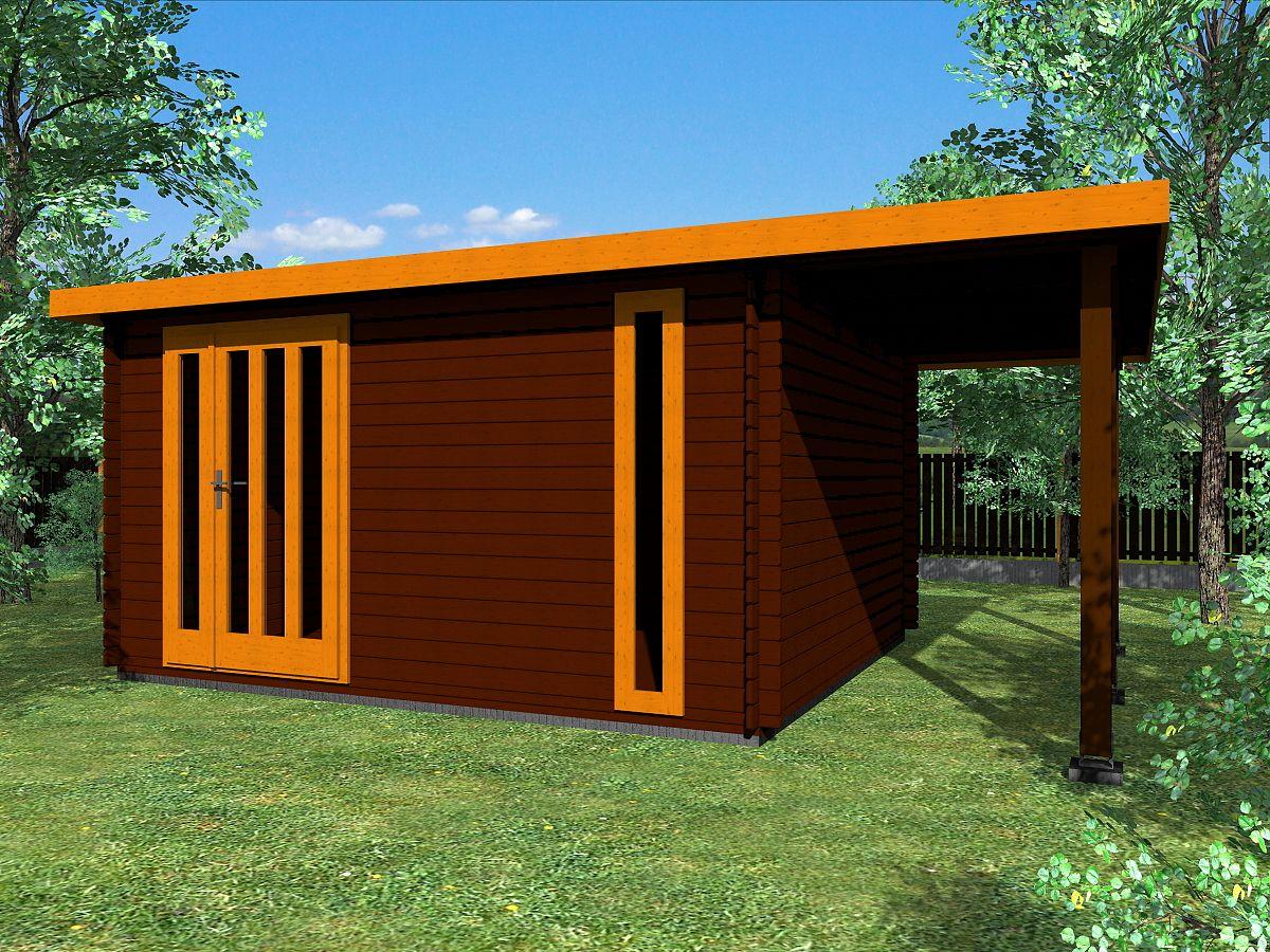 Zahradní domky EVALD s ROVNOU STŘECHOU - Evald DD 400x350 33 mm + přístřešek