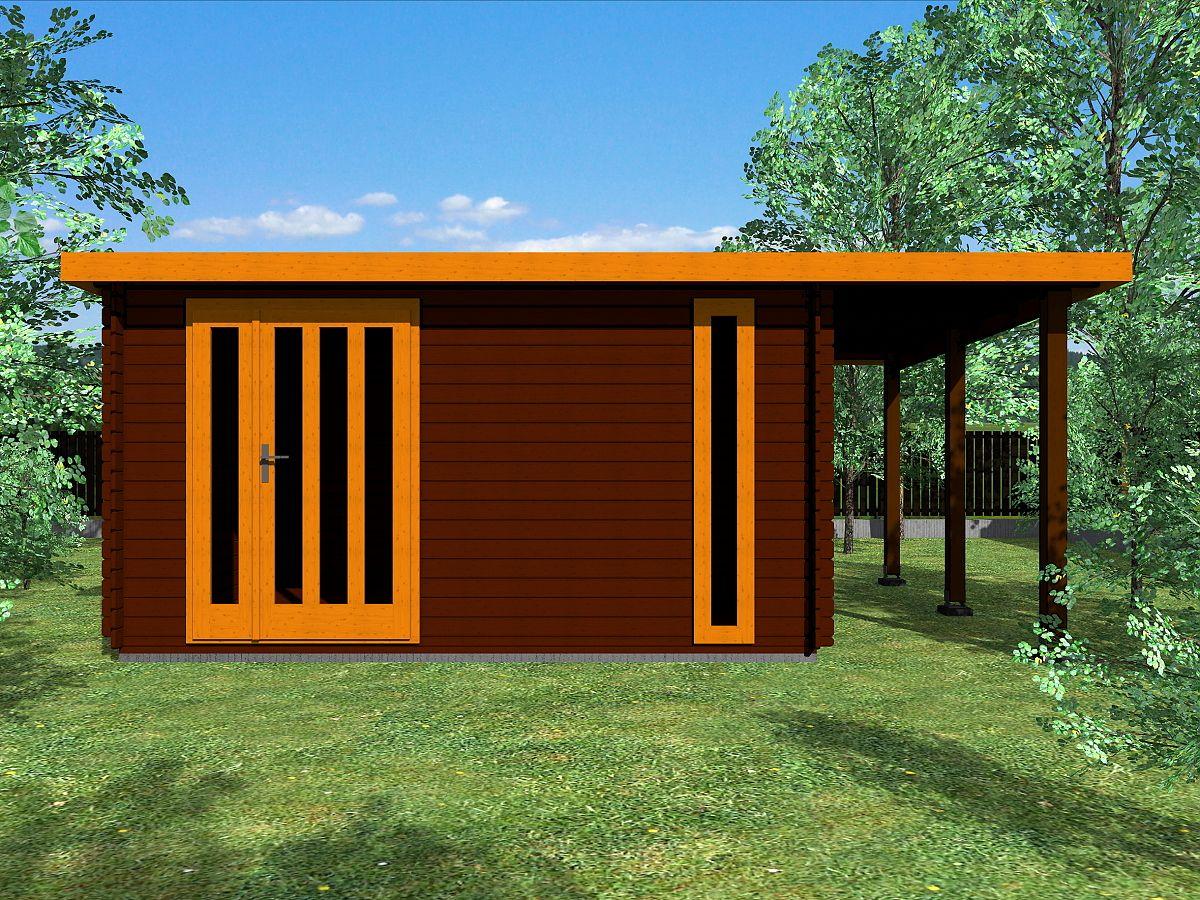 Zahradní domky EVALD s ROVNOU STŘECHOU - Evald DD 350x350 28 mm + přístřešek