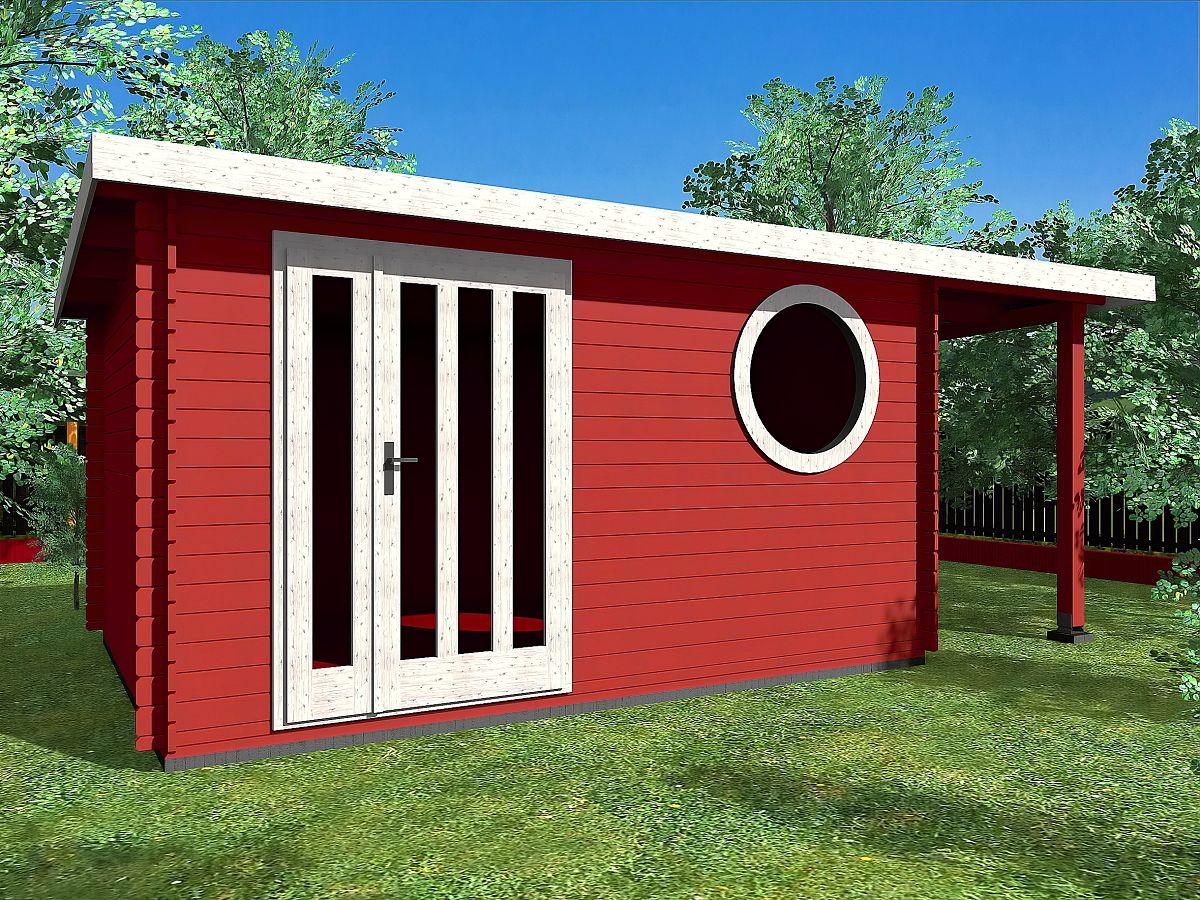 Zahradní domky OLIVER s ROVNOU STŘECHOU - Oliver DD 400x300 33 mm + přístřešek