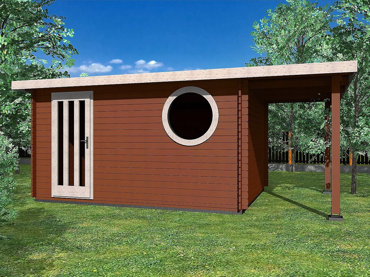 Zahradní domky OLIVER s ROVNOU STŘECHOU - Oliver 400x350 33 mm + přístřešek