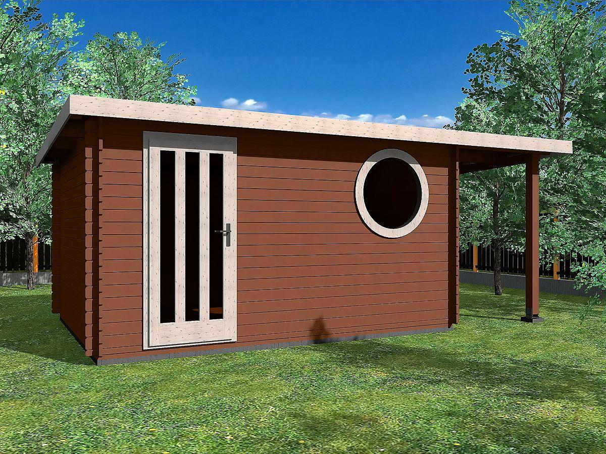 Zahradní domky OLIVER s ROVNOU STŘECHOU - Oliver 400x300 33 mm + přístřešek