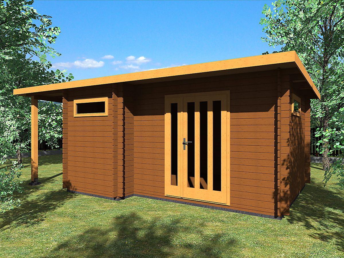 Zahradní domky UELI s rovnou střechou - Ueli DD 450x350 28 mm + přístřešek