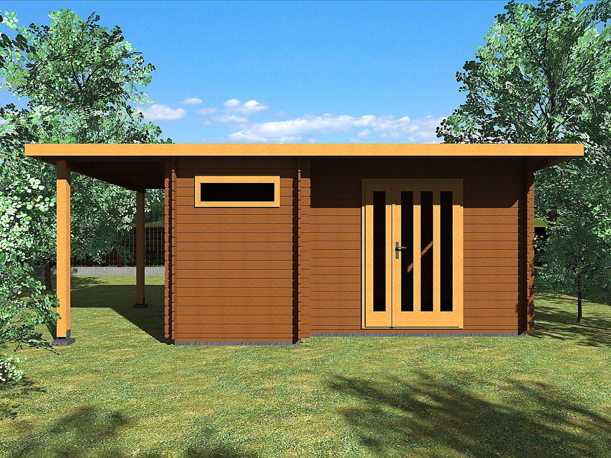 Zahradní domky UELI s rovnou střechou - Ueli DD 450x300 28 mm + přístřešek