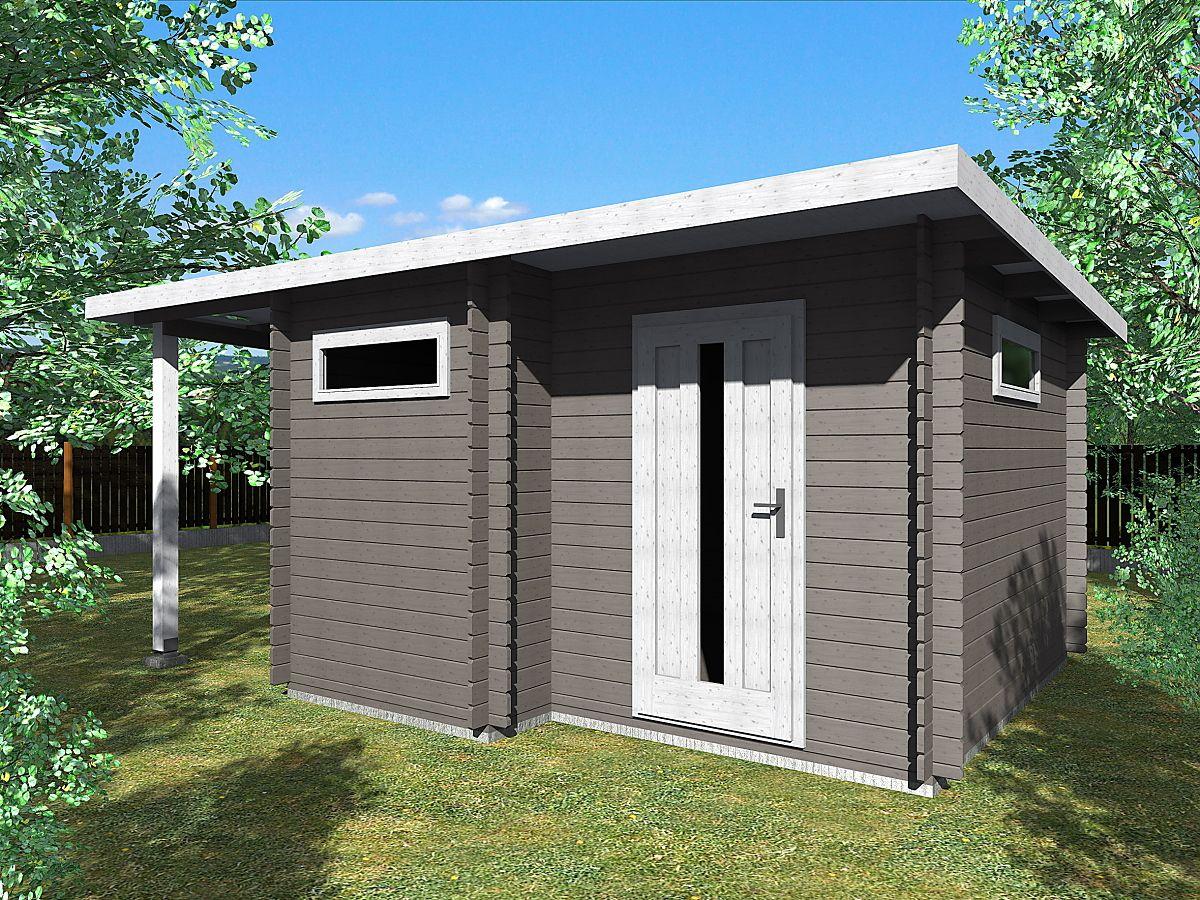 Zahradní domky UELI s rovnou střechou - Ueli 350x350 28 mm + přístřešek