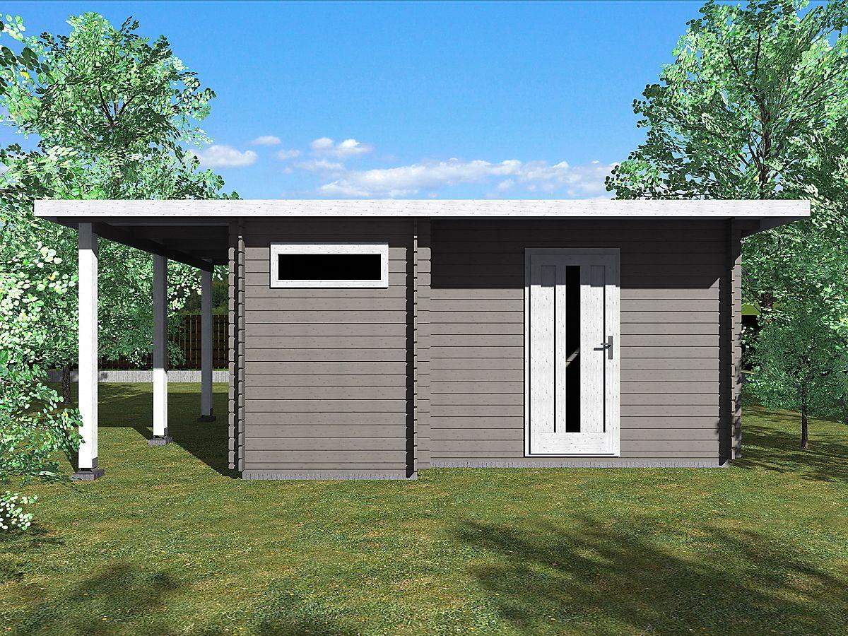 Zahradní domky UELI s rovnou střechou - Ueli 450x350 28 mm + přístřešek