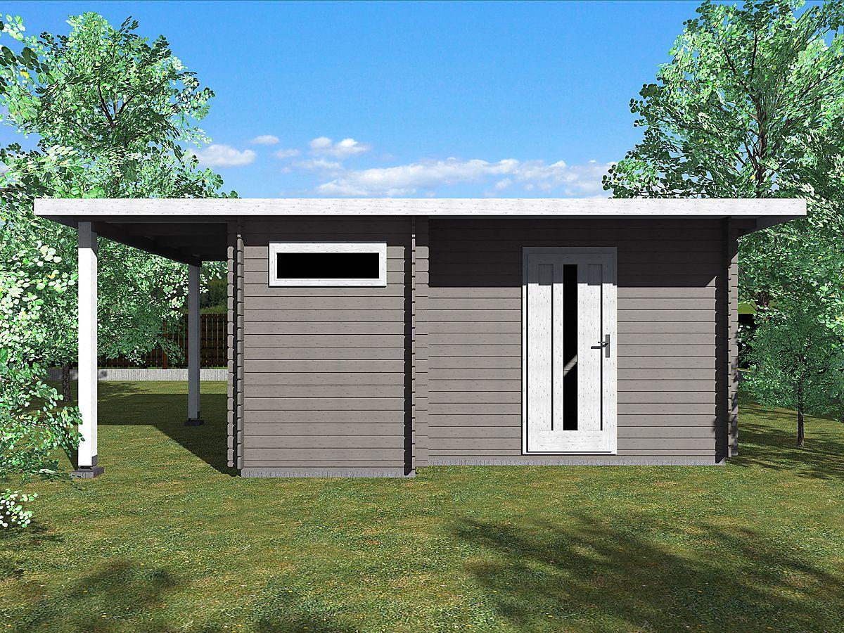 Zahradní domky UELI s rovnou střechou - Ueli 450x300 28 mm + přístřešek
