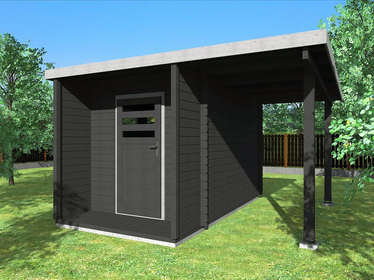 Zahradní domky URBAN s ROVNOU STŘECHOU - Urban 200x360 28 mm + přístřešek
