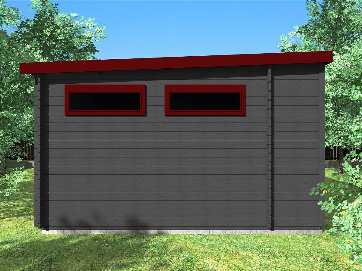 Zahradní domek Urban DD 250x360 s přístřeškem - Boční pohled.