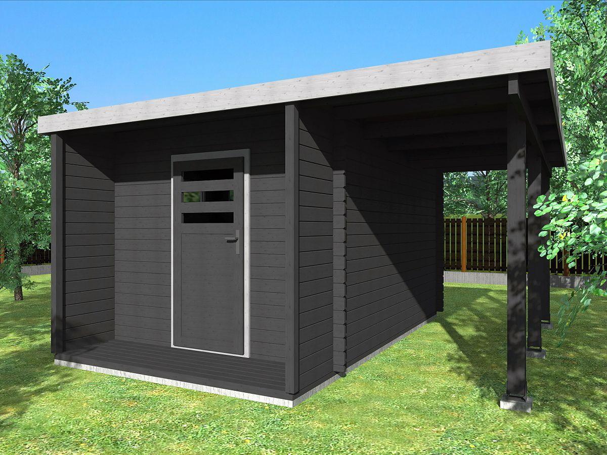 Zahradní domky URBAN s ROVNOU STŘECHOU - Urban 250x420 28 mm + přístřešek