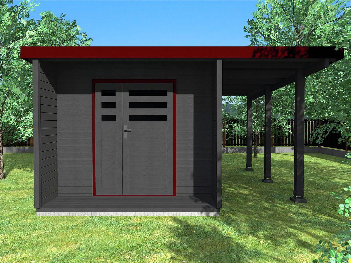 Zahradní domky URBAN s ROVNOU STŘECHOU - Urban DD 250x420 28 mm + přístřešek