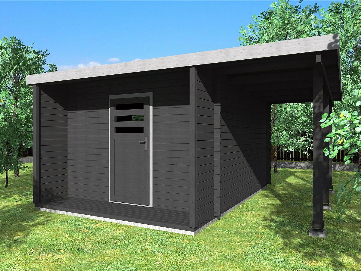Zahradní domky URBAN s ROVNOU STŘECHOU - Urban 300x420 28 mm + přístřešek