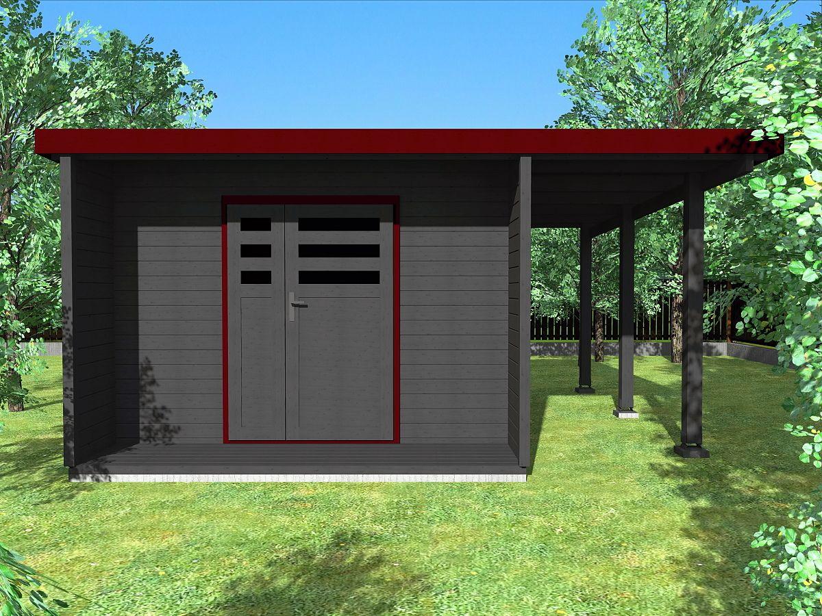 Zahradní domky URBAN s ROVNOU STŘECHOU - Urban DD 300x420 28 mm + přístřešek