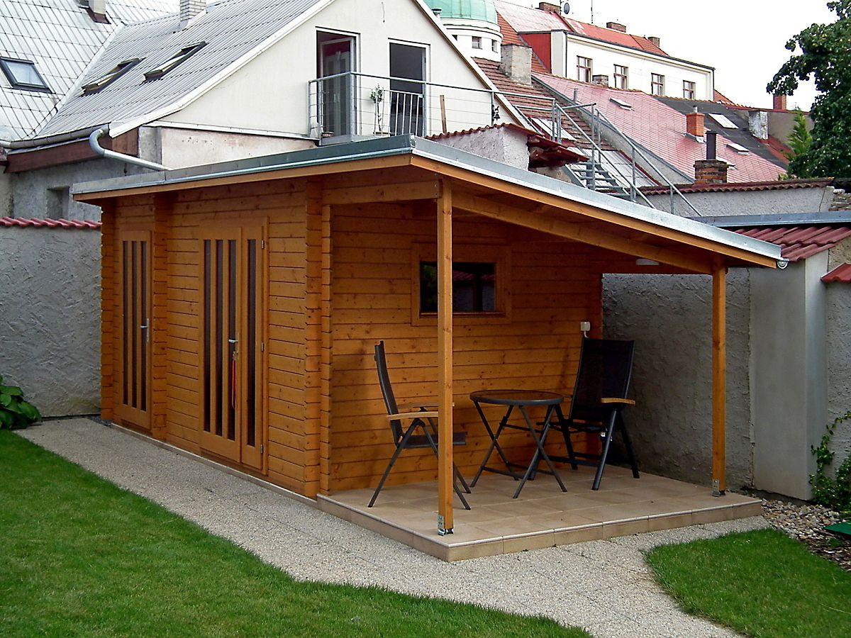 Kamal 4_460x250_PR - Nářaďový zahradní domek Kamal 4 s bočním přístřeškem.