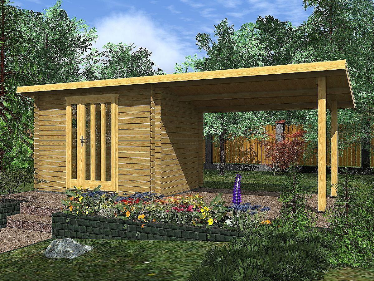 Zahradní domky na nářadí Kevin EKO - Kevin EKO 300x200 28 mm + přístřešek XL