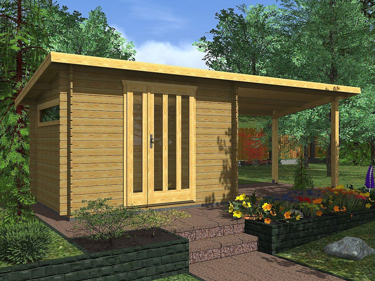 Zahradní domky na nářadí Kevin EKO - Kevin EKO 300x250 28 mm + přístřešek XL