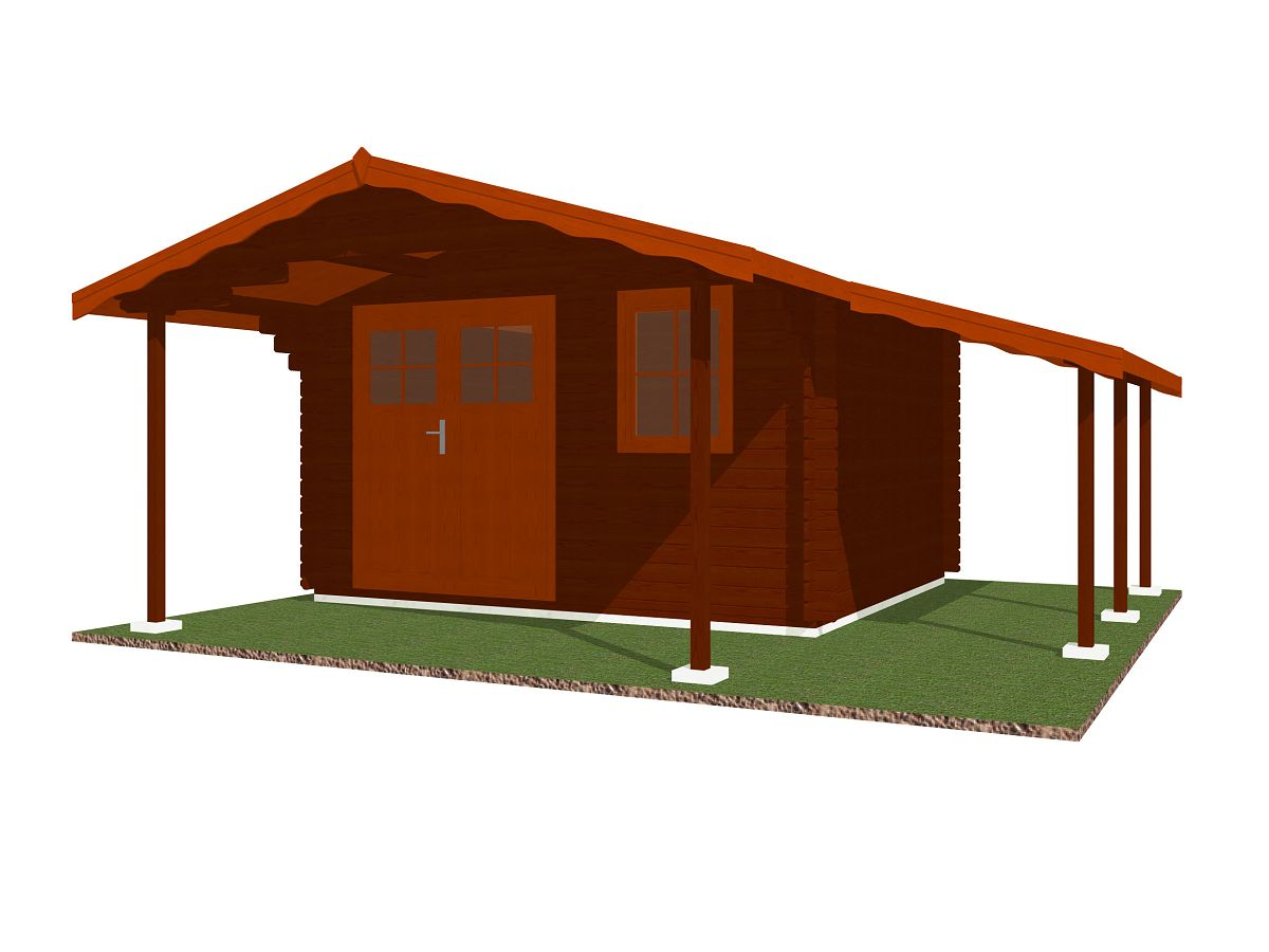 Laura EKO DD_170_PR_350x300 - Zahradní domek Laura EKO s dvoukřídlými dveřmi a čelním přesahem 170 cm a bočním přístřeškem.
