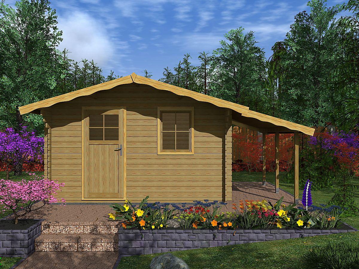 Laura EKO_PR_350x300 - Zahradní domek Laura EKO s bočním přístřeškem.