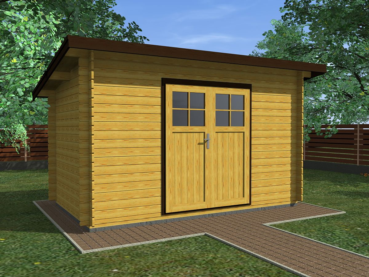 Robin EKO DD 350x200 - Nářaďový zahradní domek Robin EKO s dvoukřídlými dveřmi. Standardní provedení.