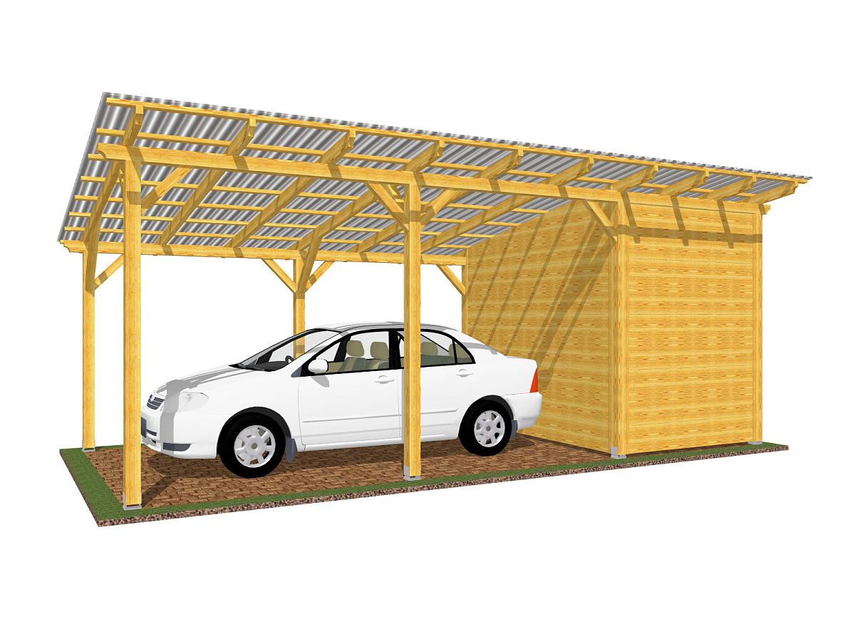 Garážová stání se skladem - Garážové stání se skladem 300x700 - pultová střecha