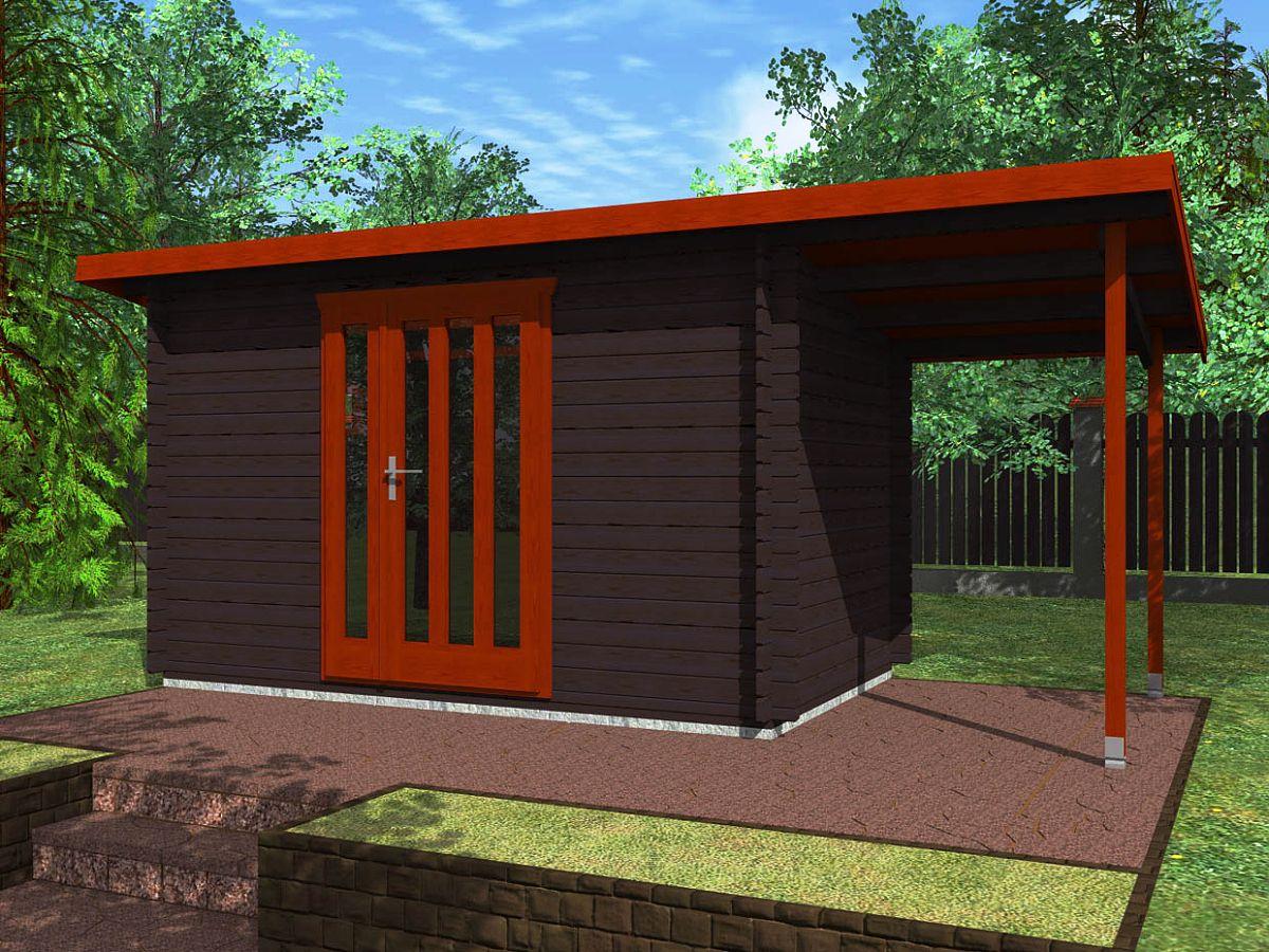Zahradní domky na nářadí Kevin EKO - Kevin EKO 350x250 28 mm + přístřešek