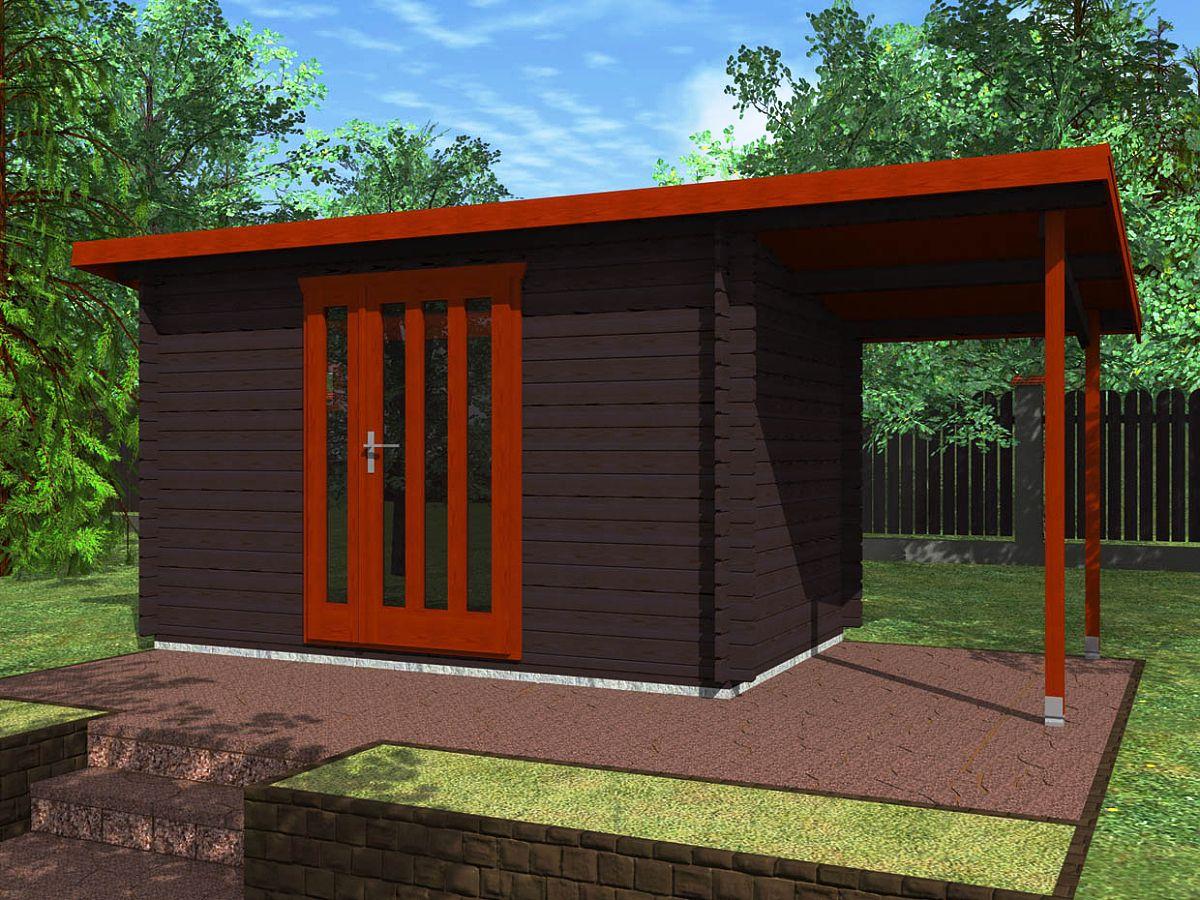 Zahradní domky na nářadí Kevin EKO - Kevin EKO 350x200 28 mm + přístřešek