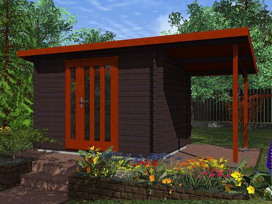 Zahradní domky na nářadí Kevin EKO - Kevin EKO 300x200 28 mm + přístřešek