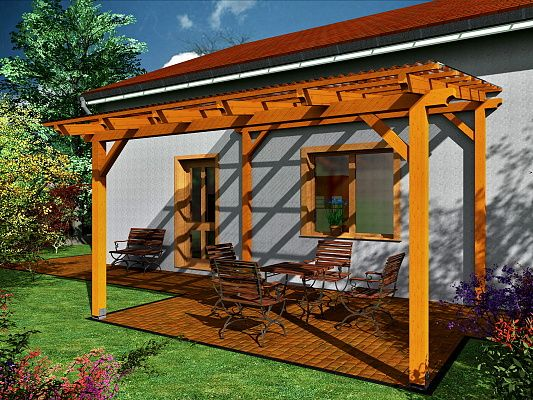 Pergoly Standard ke zdi domu - Pergola Standard ke zdi domu 250x370 - sklon 10°