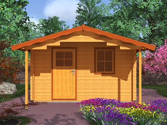Zahradní domky Laura EKO - Laura EKO 350x300 28 mm s čelním přesahem 170 cm
