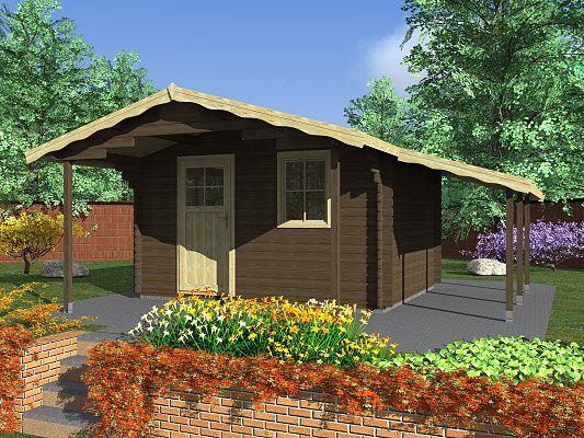 Zahradní domky Laura EKO - Laura EKO 350x300 28 mm s čelním přesahem 170 cm a s přístřeškem