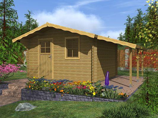 Zahradní domky Laura EKO - Laura EKO 350x300 28 mm + přístřešek