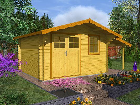 Zahradní domky Laura EKO DD - Laura EKO DD 350x350 28 mm + přístřešek