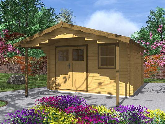 Zahradní domky Laura EKO DD - Laura EKO DD 350x300 28 mm s čelním přesahem 170 cm