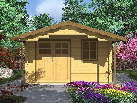 Zahradní domky Laura EKO DD - Laura EKO DD 350x350 28 mm s čelním přesahem 170 cm