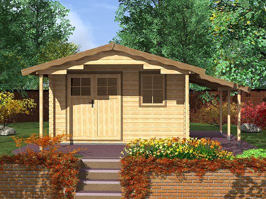 Zahradní domky Laura EKO DD - Laura EKO DD 350x350 28 mm s čelním přesahem 170 cm a s přístřeškem