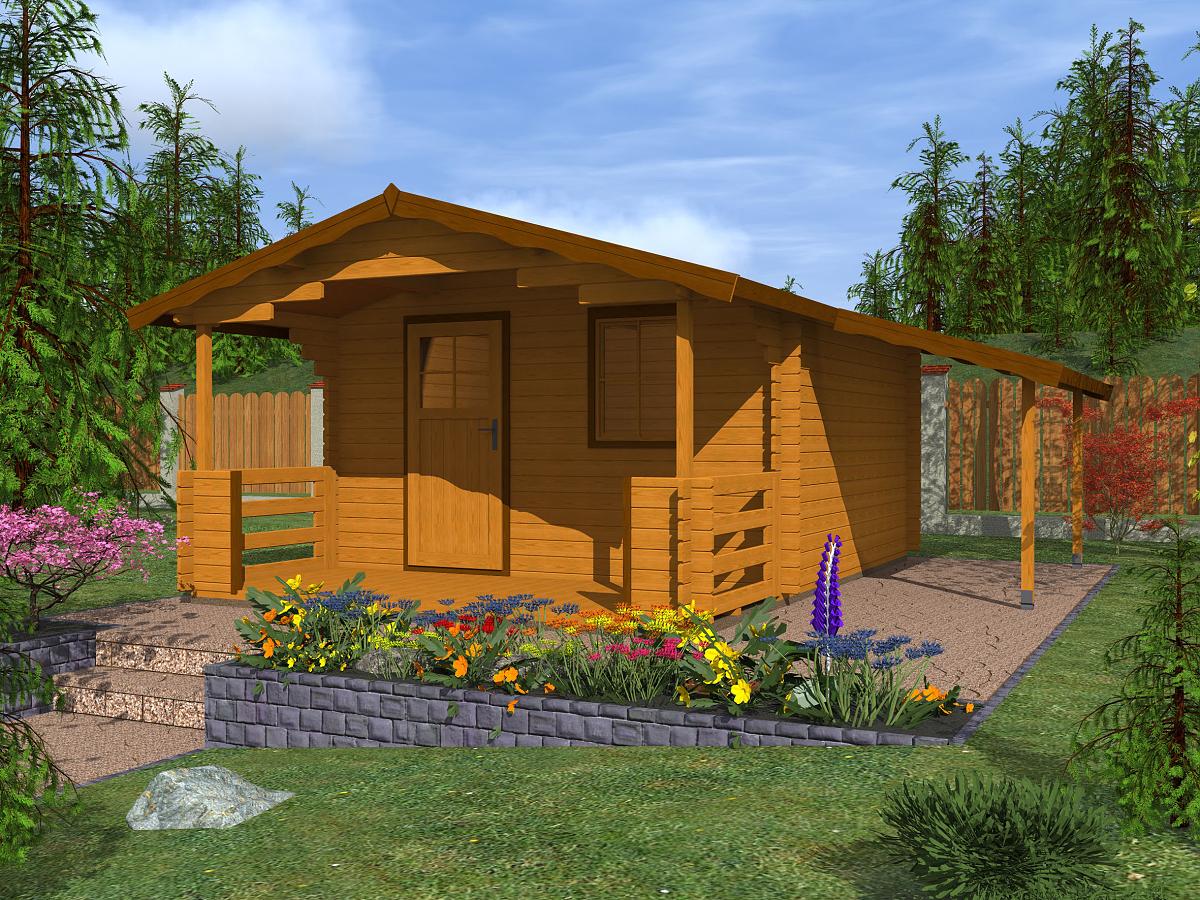 Zahradní chatky Luka EKO - Luka EKO 350x250 28 mm + přístřešek