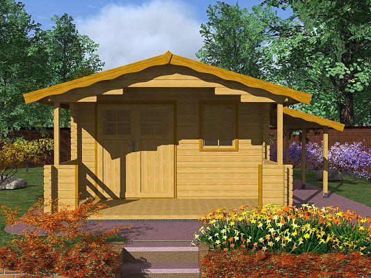 Zahradní chatky Luka EKO DD - Luka EKO DD 350x350 28 mm + přístřešek