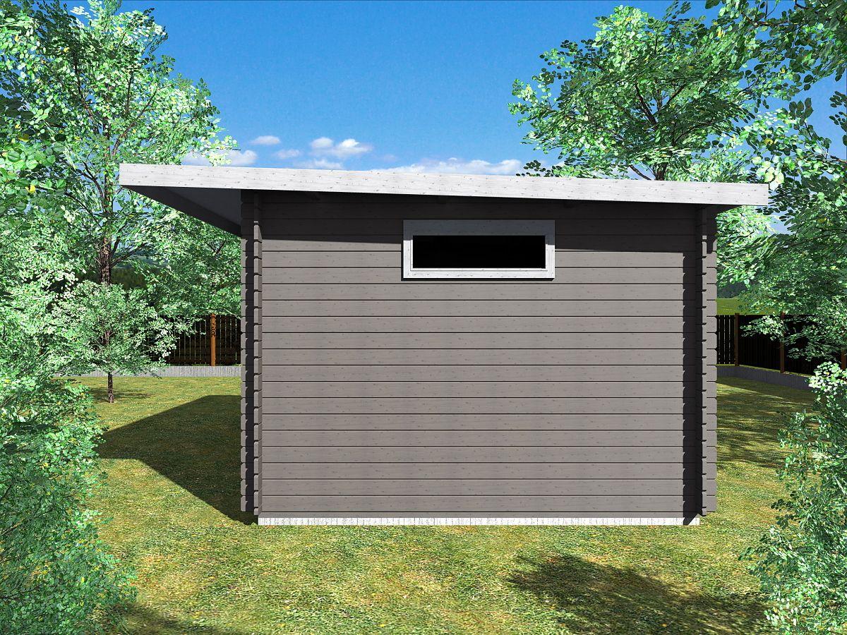 Zahradní domky UELI <br> s rovnou střechou - Ueli 350x350 28 mm + přístřešek