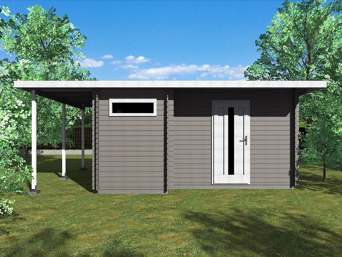 Zahradní domky UELI <br> s rovnou střechou - Ueli 450x350 28 mm + přístřešek