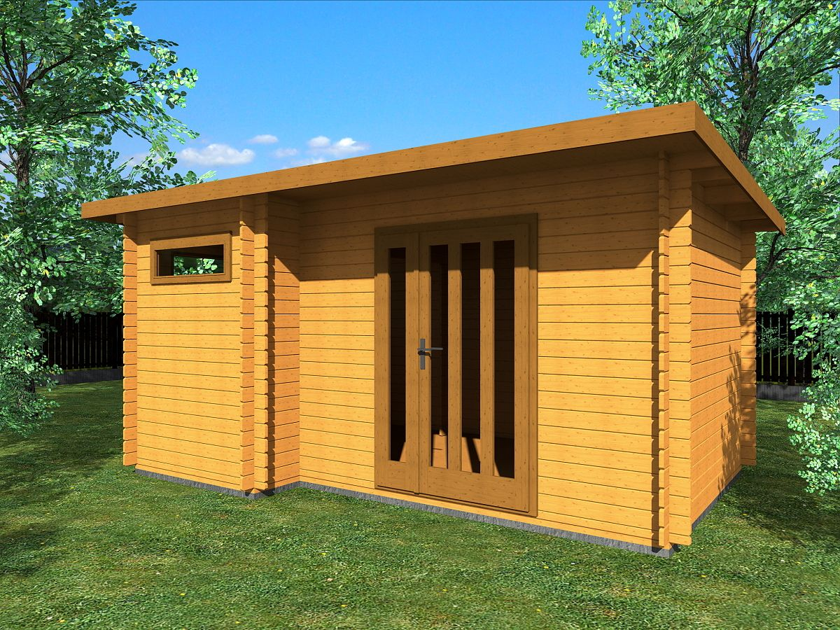 Zahradní domky UELI <br> s rovnou střechou - Ueli DD 450x300 28 mm