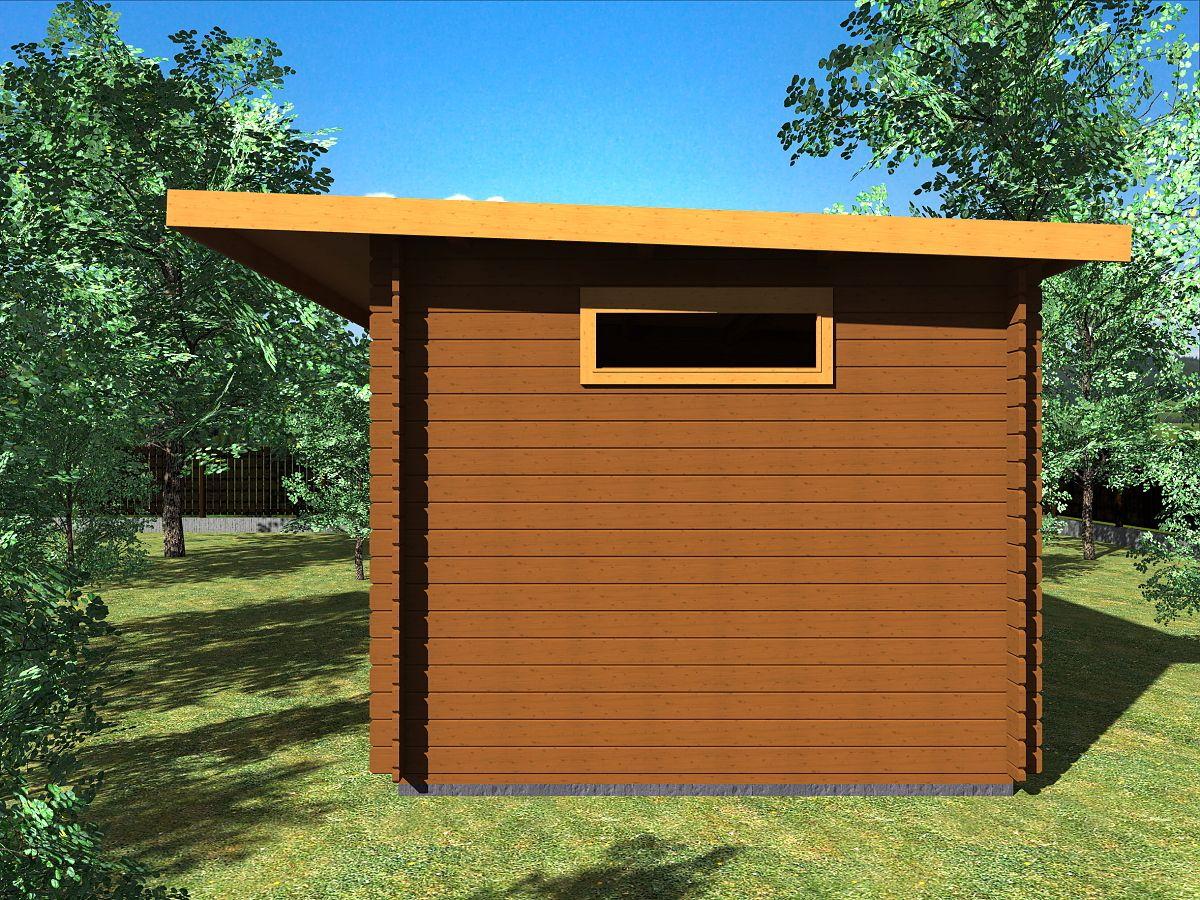 Zahradní domky UELI <br> s rovnou střechou - Ueli DD 450x300 28 mm + přístřešek