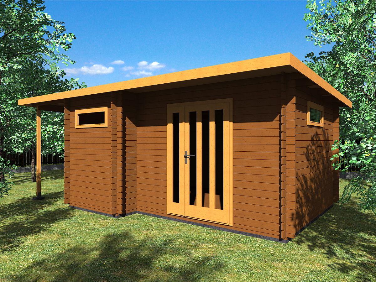Zahradní domky UELI <br> s rovnou střechou - Ueli DD 450x350 28 mm + přístřešek
