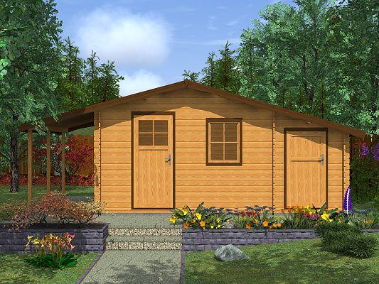 Zahradní chatky Zita EKO - Zita EKO 440x300 28 mm + přístřešek